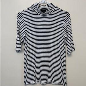 Ann Taylor stripes mock neck T-shirt.